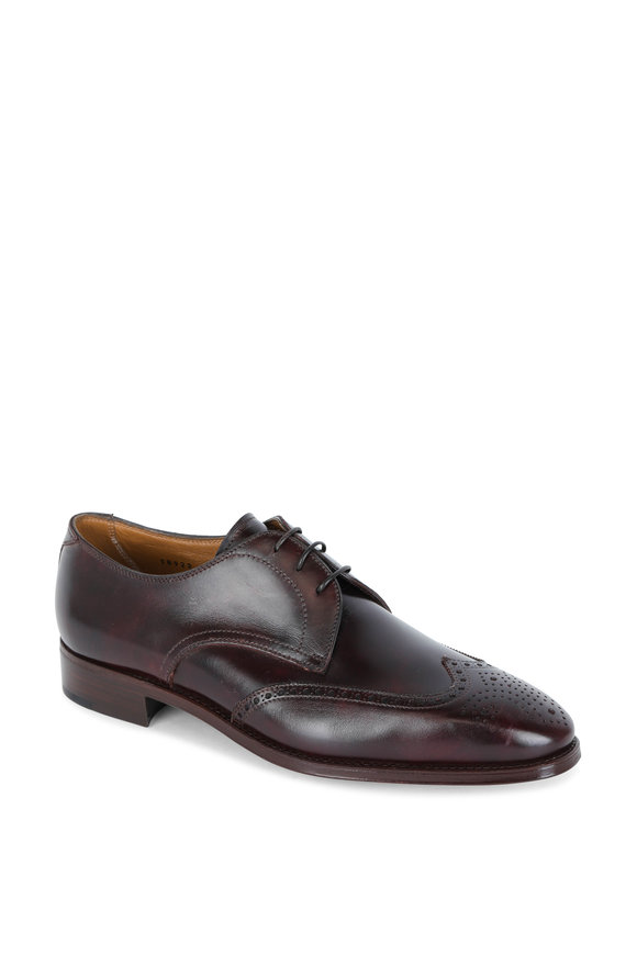 Gravati Burgundy Leather Wingtip Derby Shoe