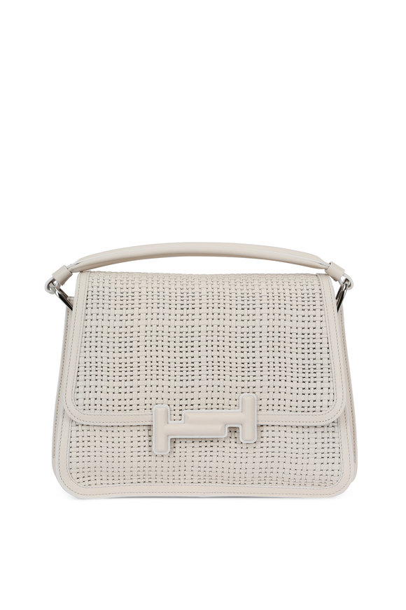 Tod's Off-White Woven Leather Double-T Messenger Bag