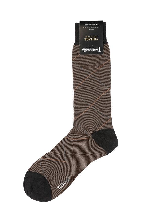 Pantherella  Brown Overcheck Wool Blend Socks