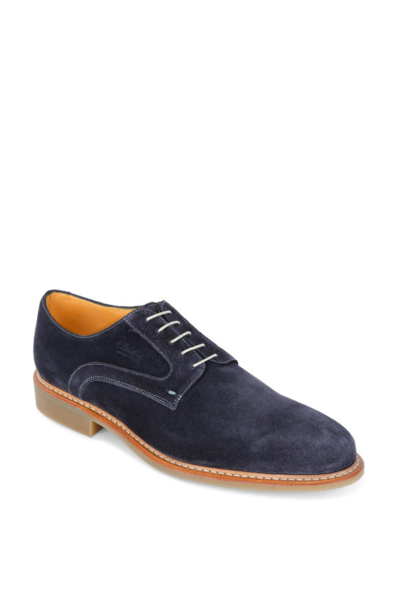 Paraboot Navy Blue Suede Derby Dress Shoe