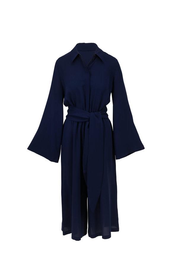 Michael Kors Collection Maritime Blue Silk Belted Jumpsuit