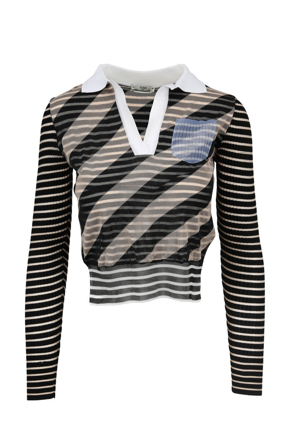 Fendi Black & Tan Striped V-Neck Sweater