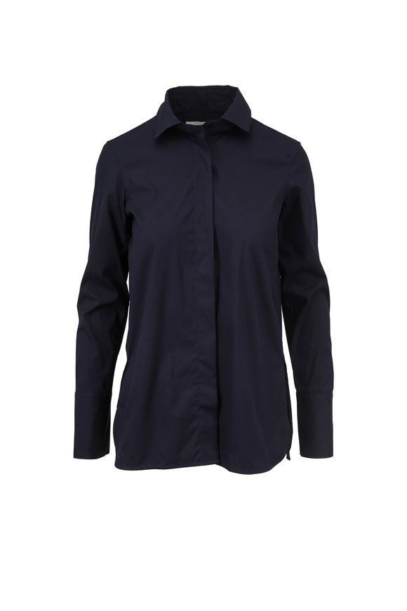 Lareida Navy Blue Poplin Slim Fit Blouse