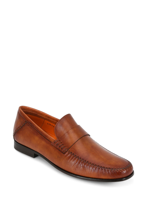 Santoni Paine Tan Burnished Leather Loafer