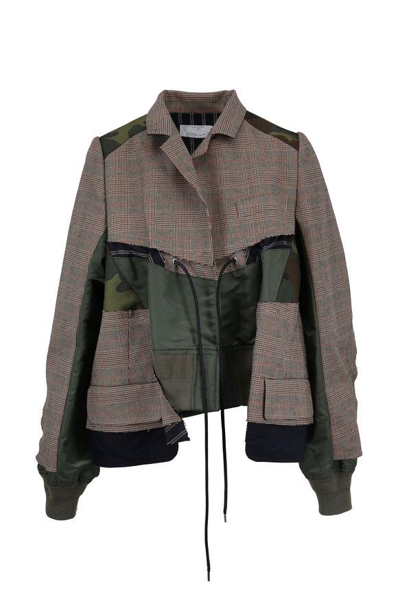 Sacai Beige & Army Plaid Mixed Media Flounce Jacket