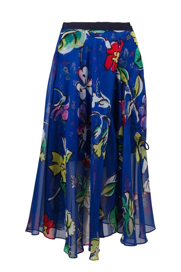 Sacai Blue Floral Multi Texture Midi Skirt
