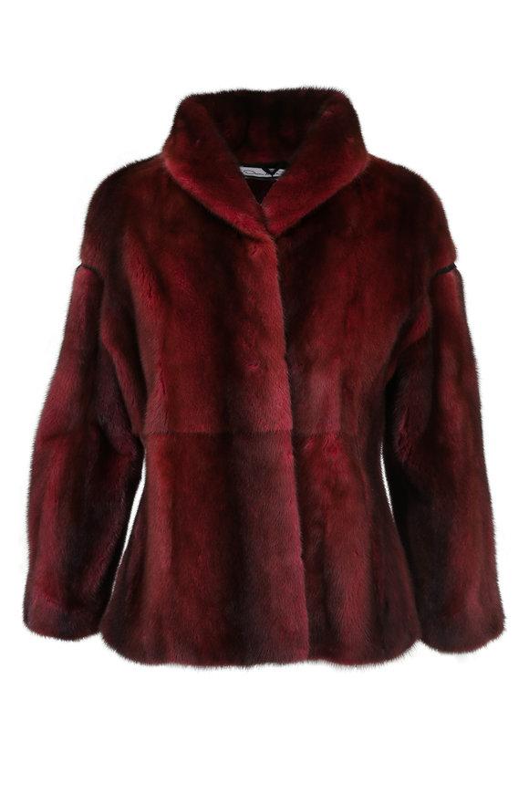 Oscar de la Renta Furs Guava Dyed Mink Shawl Collar Jacket