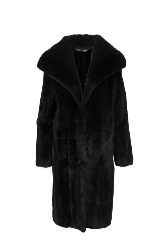 Oscar de la Renta Furs Midnight Dyed Mink Oversized Lapel Coat