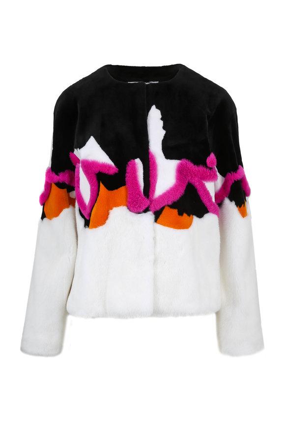 Oscar de la Renta Furs Black & White Multi-Fur Intarsia Jacket