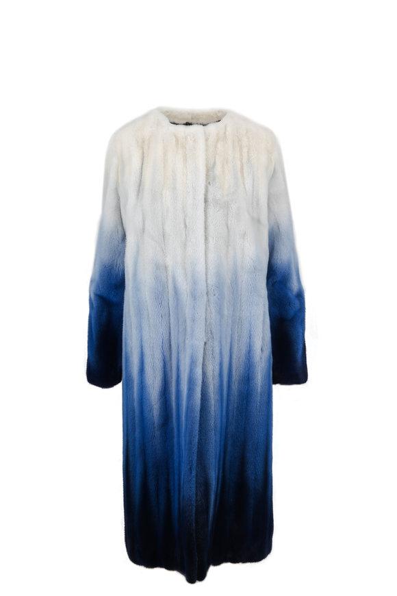 Oscar de la Renta Furs White & Blue Degradé Collarless Coat