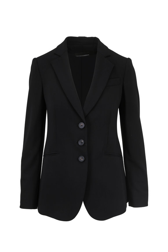 Emporio Armani Black Stretch Crêpe Wool Blazer