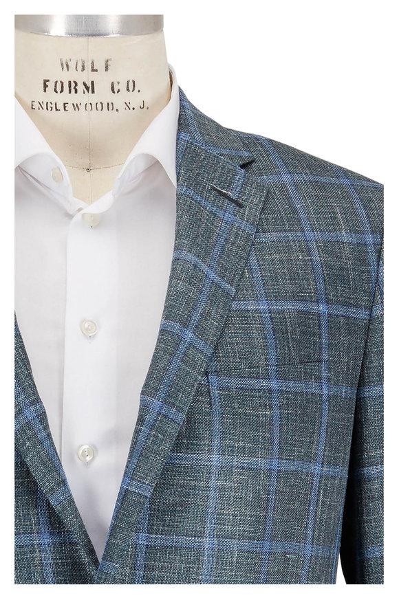 Hickey Freeman Blue Windowpane Wool, Silk & Linen Sportcoat