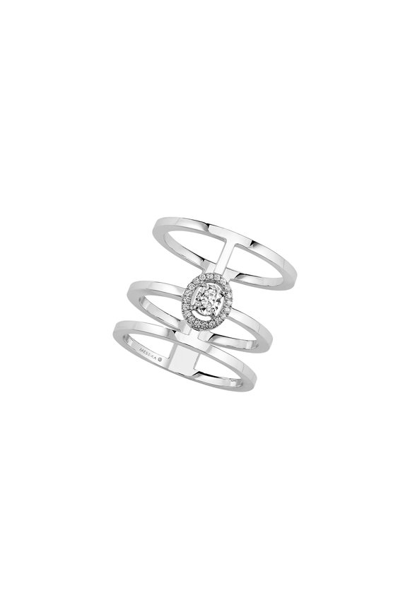Messika White Gold Glam'Azone Triple Pavè Ring