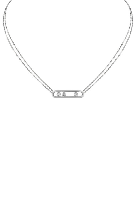 Messika 18K White Gold Bar Necklace