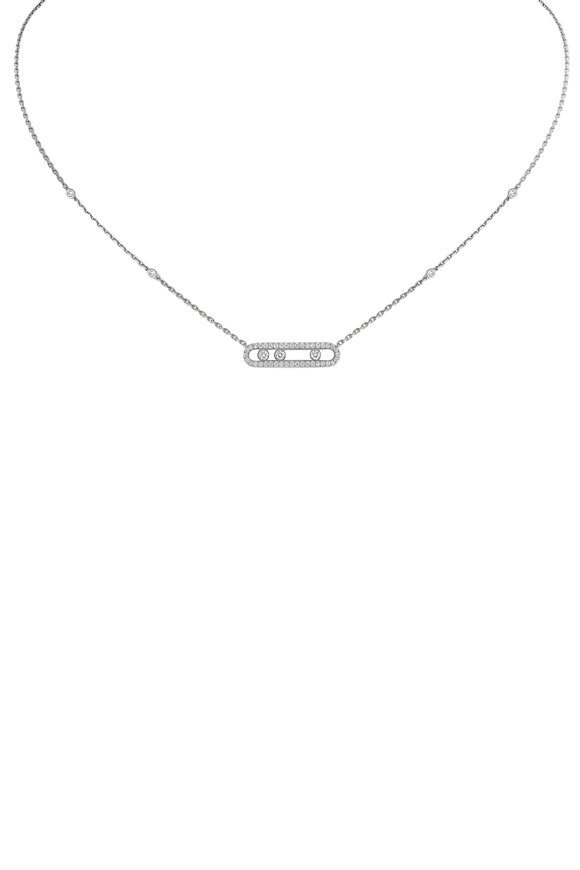Messika 18K White Gold Baby Bar Necklace