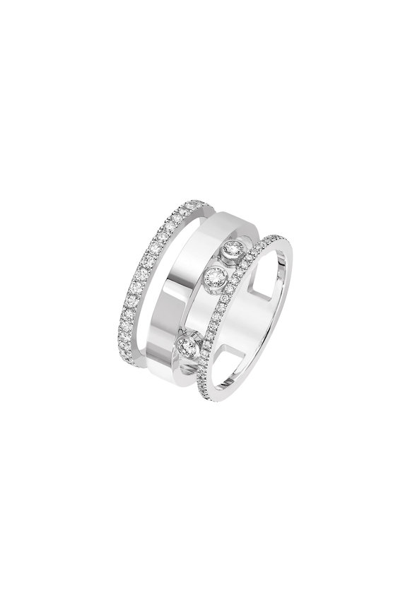 Messika 18K White Gold Moving Ring