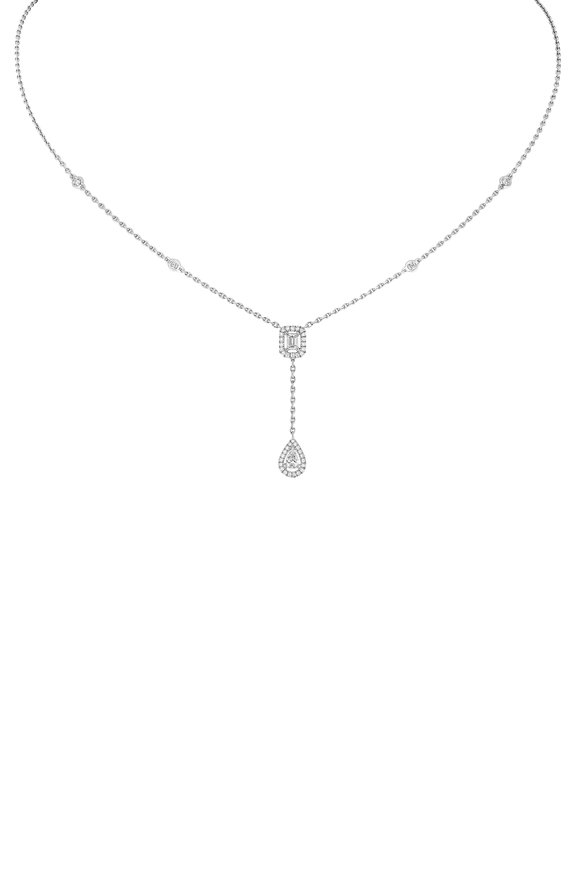 Messika 18K White Gold Drop Diamond Necklace