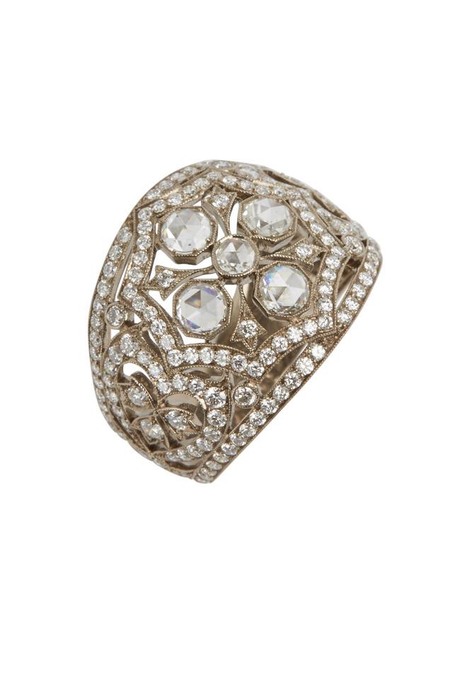 Vintage White Gold Fancy Diamond Ring