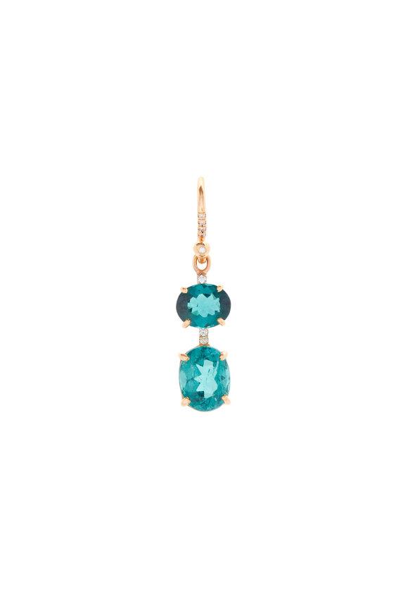 Irene Neuwirth 18K Rose Gold Indicolite & Diamond Drop Earrings