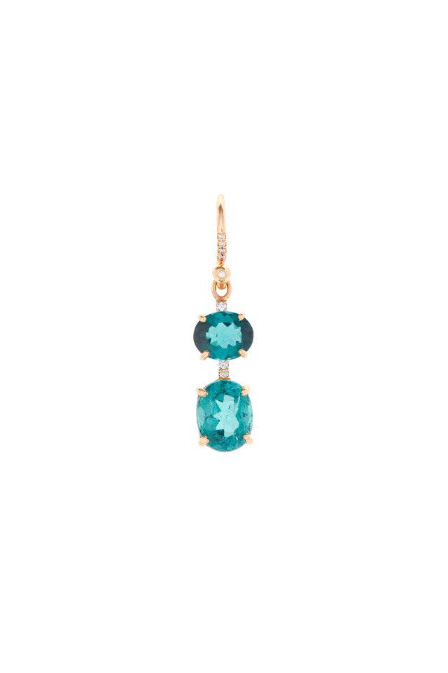 18K Rose Gold Indicolite & Diamond Drop Earrings