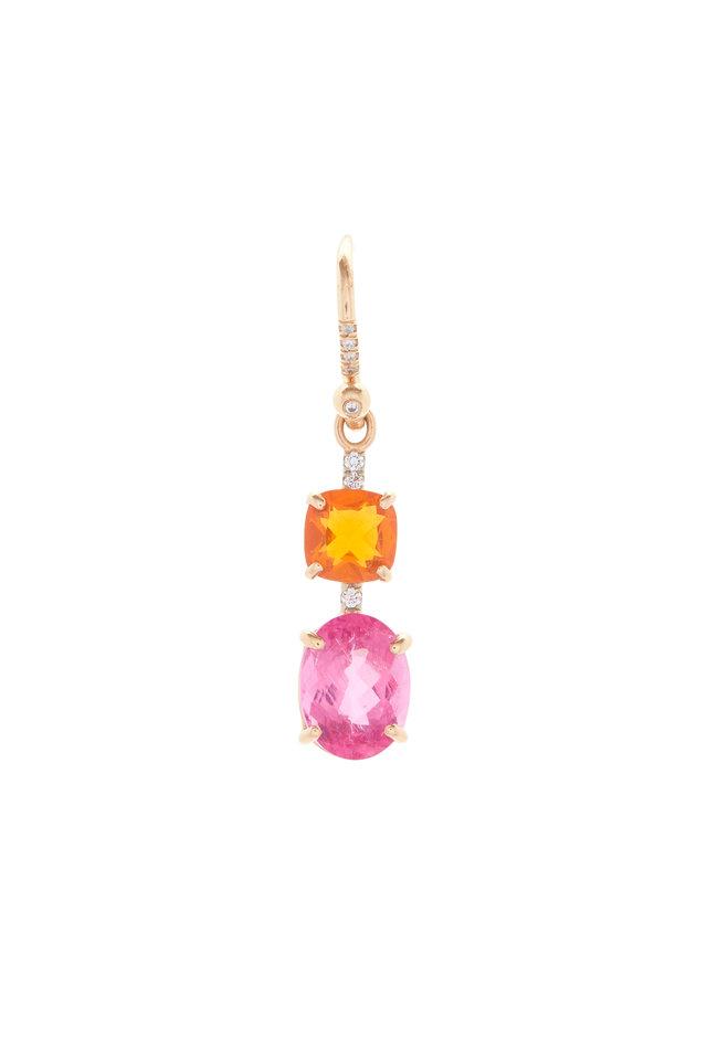 18K Rose Gold Tourmaline, Opal & Diamond Earrings