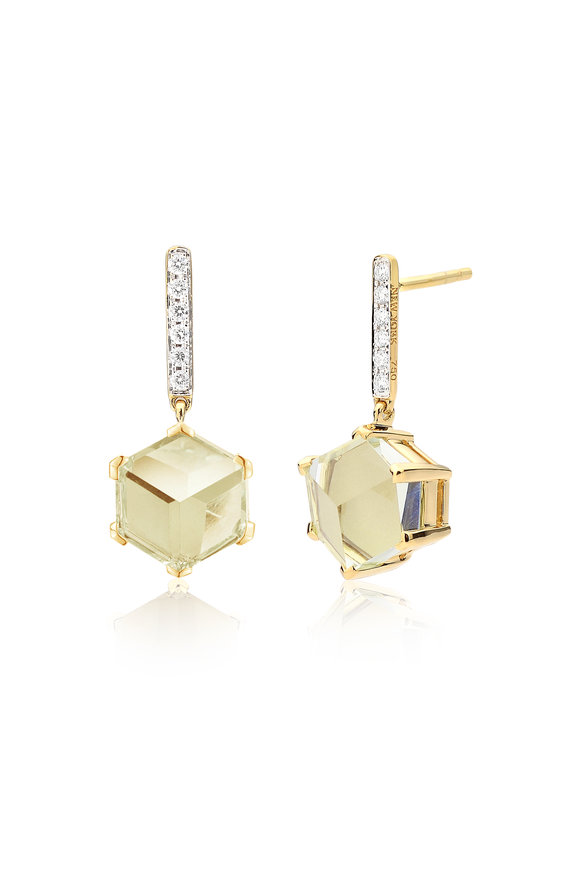 Paolo Costagli Valentina Green Amethyst & Diamond Drop Earrings