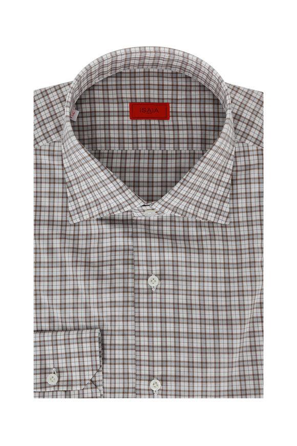 Isaia Brown & Gray Check Dress Shirt