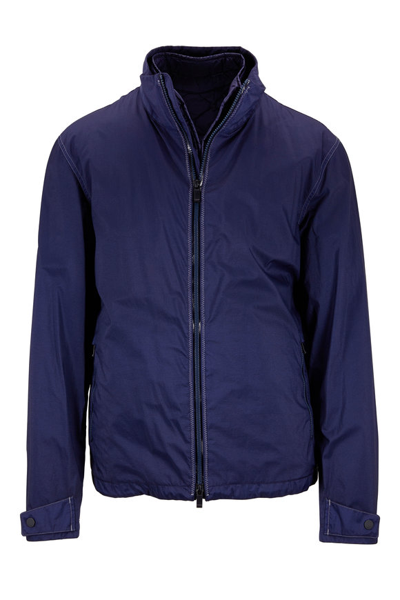 Z Zegna Navy Blue Convertible Performance Jacket