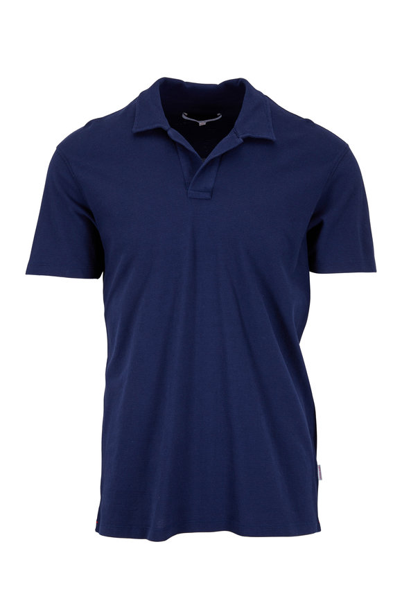 Orlebar Brown Navy Blue Waffle Knit Tailored Fit Polo