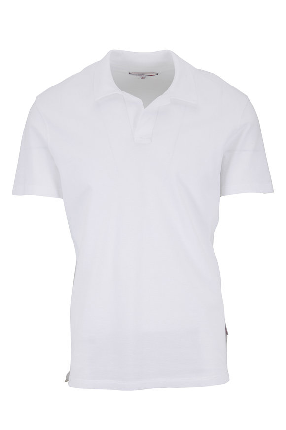 Orlebar Brown White Waffle Knit Tailored Fit Polo