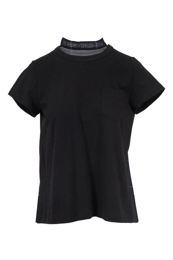 Sacai Black Knit & Windowpane Organza T-Shirt