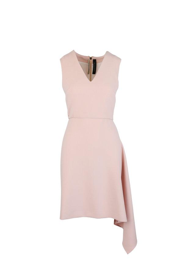 Roland Mouret Aylsham Pale Pink Crêpe Draped Sleeveless Dress