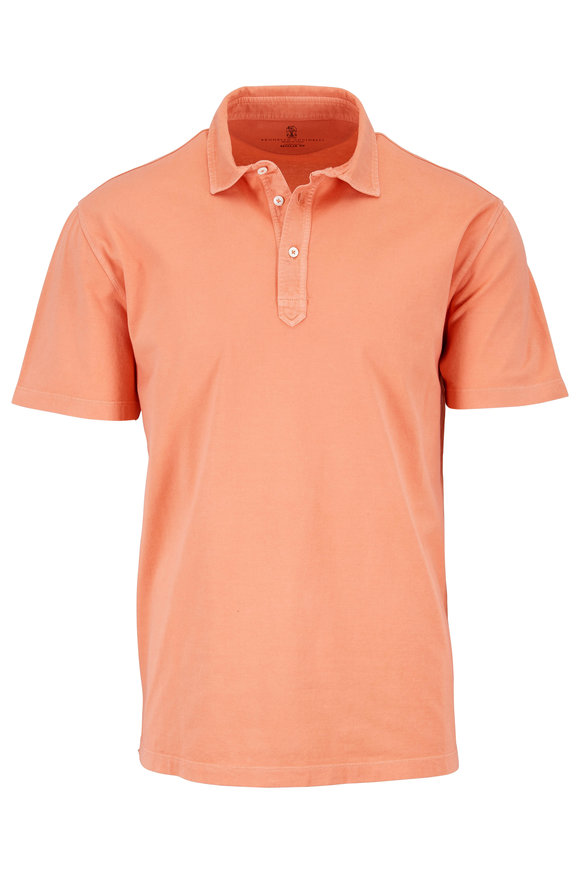 Brunello Cucinelli Orange Washed Cotton Polo