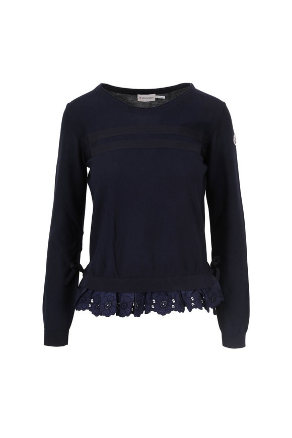 Moncler Navy Blue Cotton Ruffled Hem Sweater