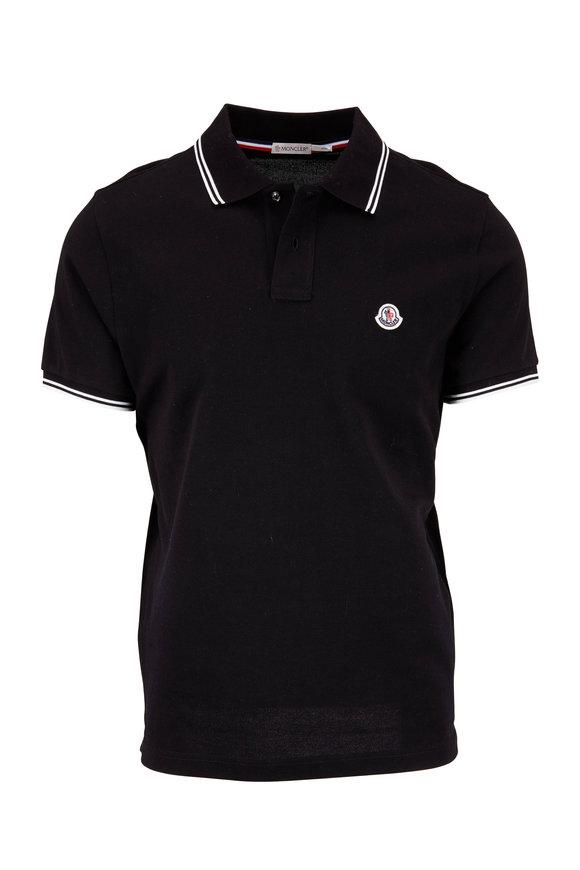 Moncler Black Cotton Short Sleeve Polo