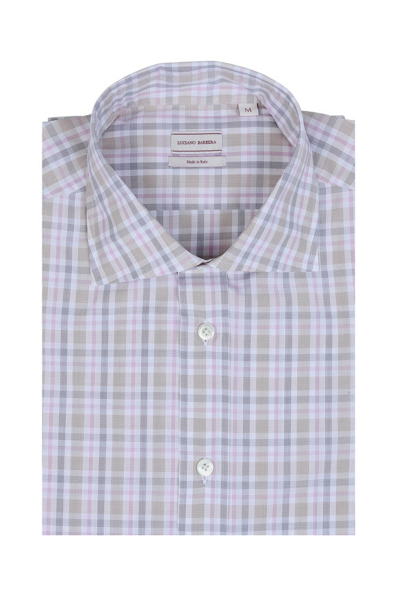 Luciano Barbera Tan, Pink & Gray Plaid Sport Shirt