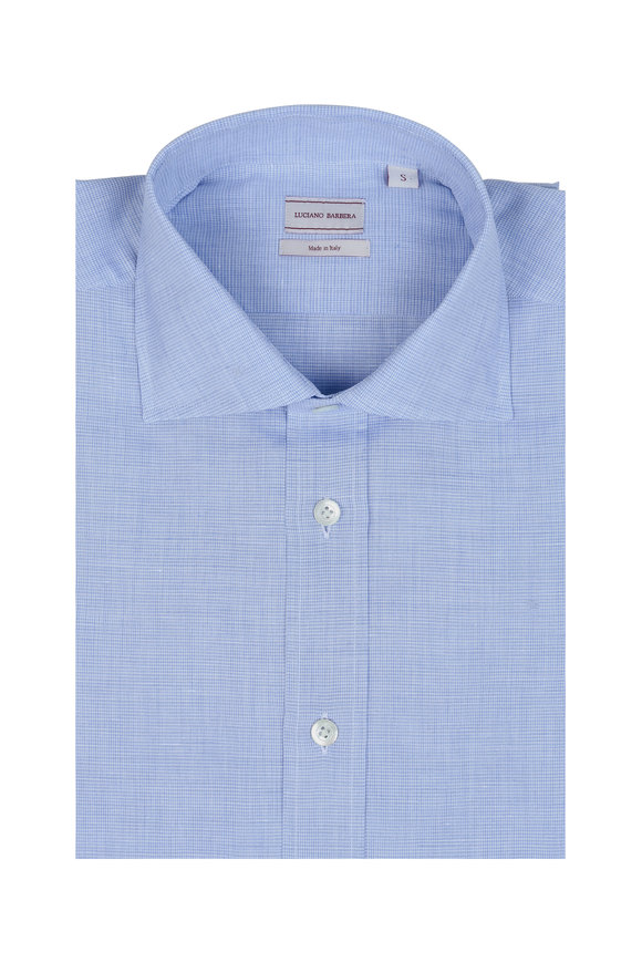 Luciano Barbera Solid Blue Linen Blend Textured Sport Shirt