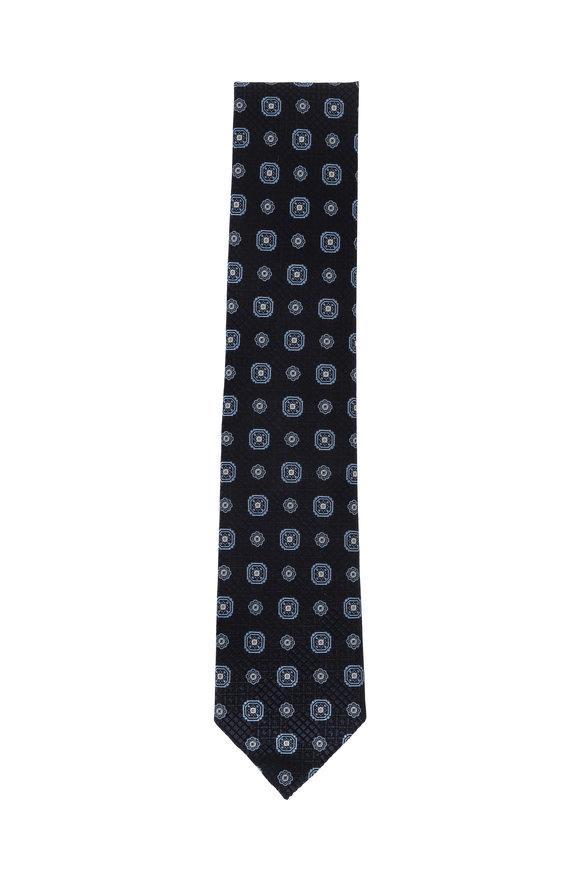 Ermenegildo Zegna Navy Medallion Silk Necktie