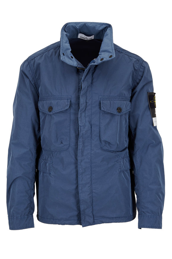 Stone Island Blue Gray Four Pocket Hooded Jacket