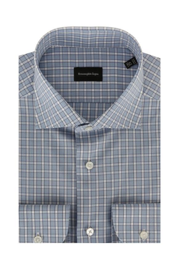 Ermenegildo Zegna Blue Plaid Dress Shirt