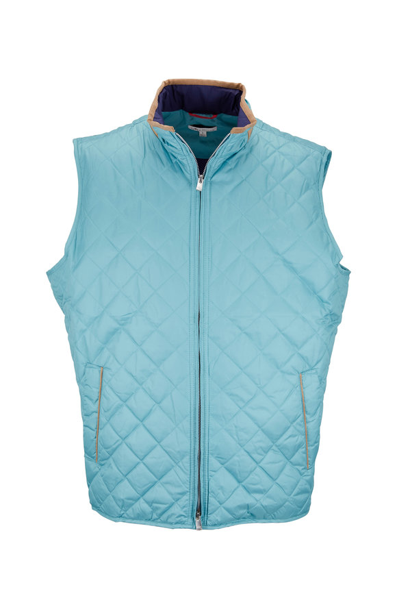 Peter Millar Tailgate Teal Quilted Vest