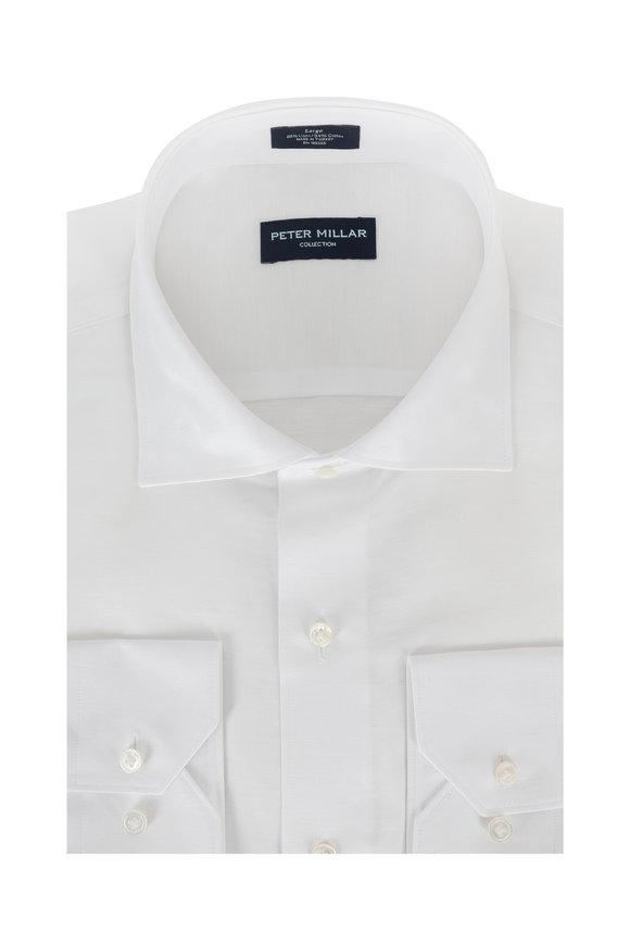 Peter Millar Solid White Linen Blend Sport Shirt
