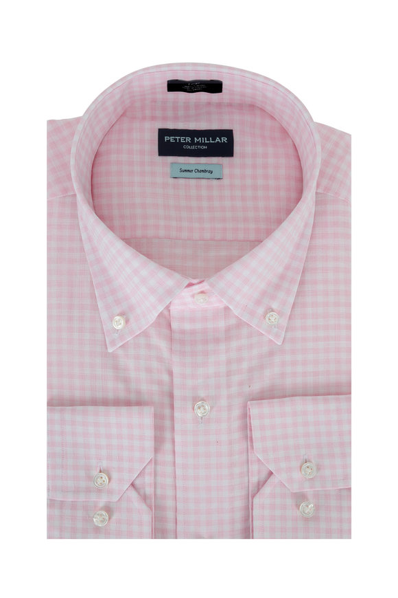 Peter Millar Summer Chambray Light Pink Gingham Sport Shirt