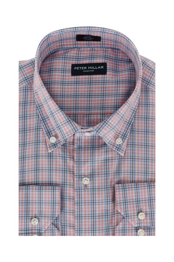 Peter Millar Pink & Blue Desert Check Sport Shirt