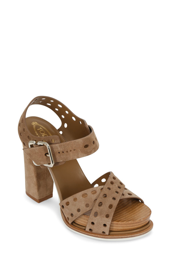 Tod's Sand Perforated Leather Platform Sandal, 100mm