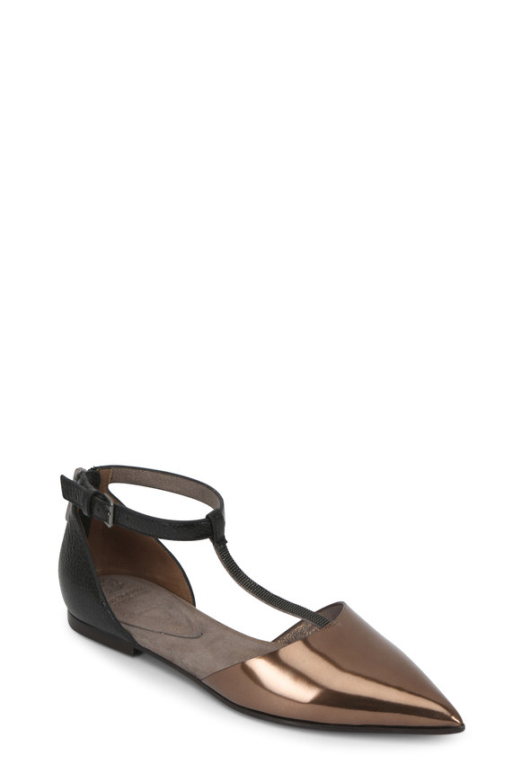 Brunello Cucinelli Bronze Metallic Monili T-Strap Pointed Toe Flat