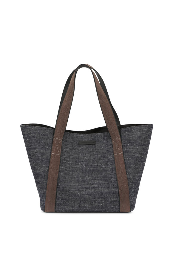 Brunello Cucinelli Dark Denim & Monili Trim Tote Bag