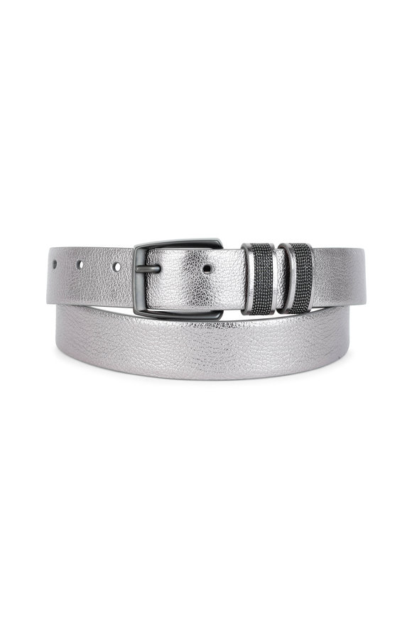Brunello Cucinelli Pewter Leather Belt