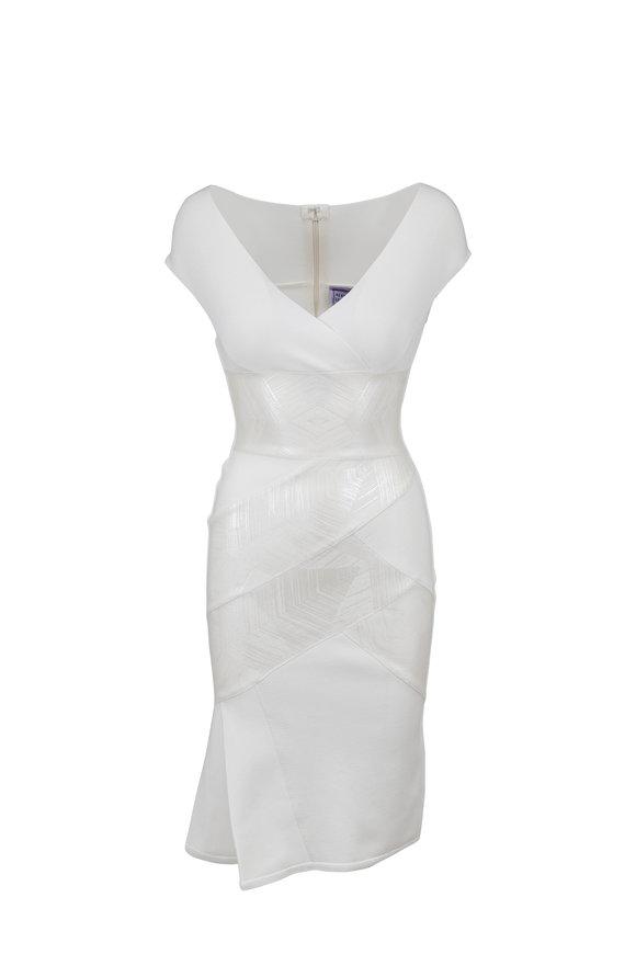 Herve Leger Alabaster V-Neck Foil Bandage Dress