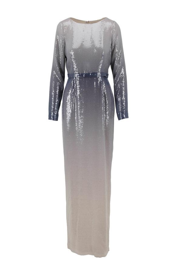 Pamella Roland Gunmetal Long Sleeve Ombré Gown